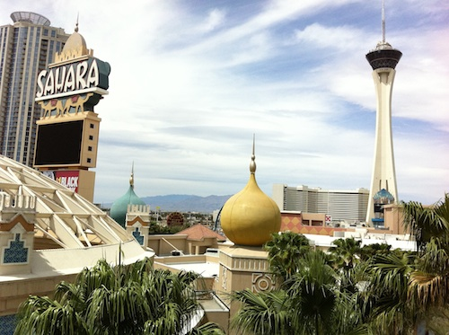 "The famous ""Sahara"" hotel that closed recently. It was a landmark on the North end of the Las Vegas strip. Eventually it will be remodeled and re-opened as a new hotel."