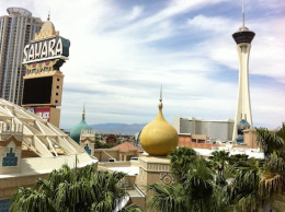 """The famous """"Sahara"""" hotel that closed recently. It was a landmark on the North end of the Las Vegas strip. Eventually it will be remodeled and re-opened as a new hotel."""