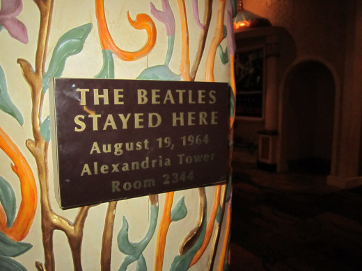 "The plaque on the door of ""The Beatles Suite"" in the Sahara Hotel. Someone had actually taken this plaque OFF of the door the day we walked through these rooms. This is where we found the picture we  have in our bathroom."
