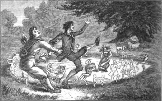 A picture out of a British folklore book from the 1800s of a man being saved from a fairy circle.