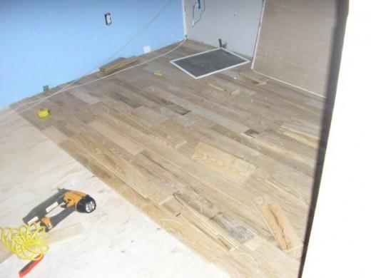 Oak hardwood in progress