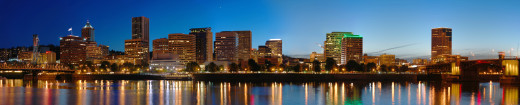 A panoramic city view of the lights of Portland, OR, from a photo taken from the water. Beautiful, isn't it?