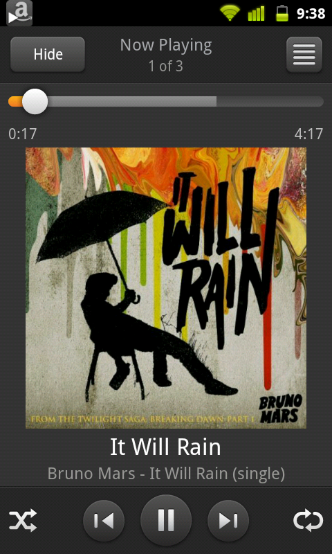 Screenshot from Android HTC Inspire 4G streaming a song through Amazon Mp3 Cloud Player