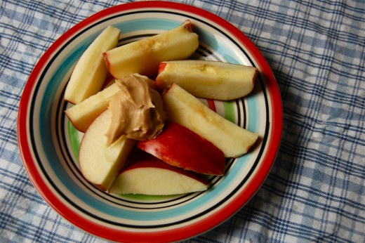 Apples with nut butter is a great balanced snack for someone with hypoglycemia