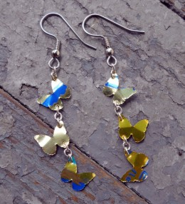 Yellow butterfly aluminum can earrings