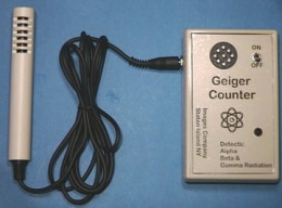 Geiger counters consist of a tube (probe) that picks up the radiation and sends the information in pulses to the Geiger counter.