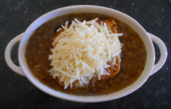Soup in Bowls Half Roll added with Cheese on Top......Ready to Grill...