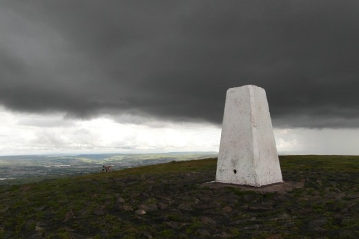 Black sky over Pendle Beacon