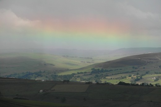 Rainbow with view southeast from Pendle