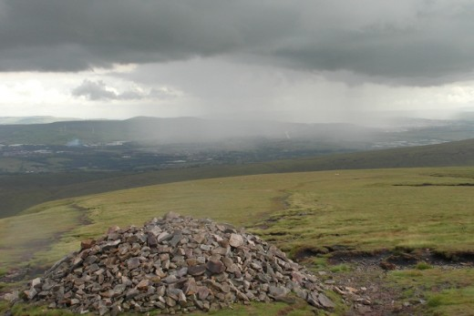 Rain cloud approaching Pendle from the west