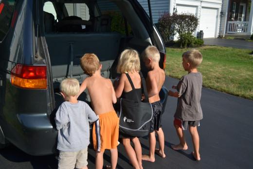 My five helpers unloading groceries from Aldi