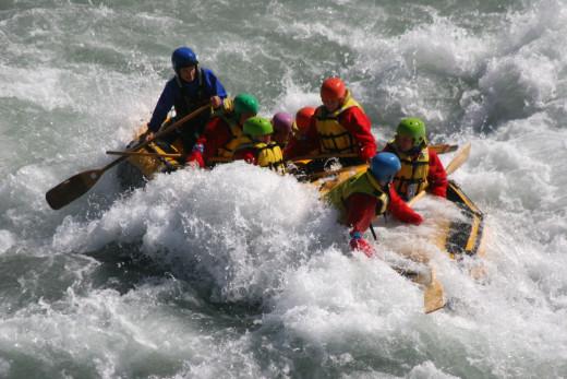 White water rafting, Rangitata Valley, Canterbury Region, NZ