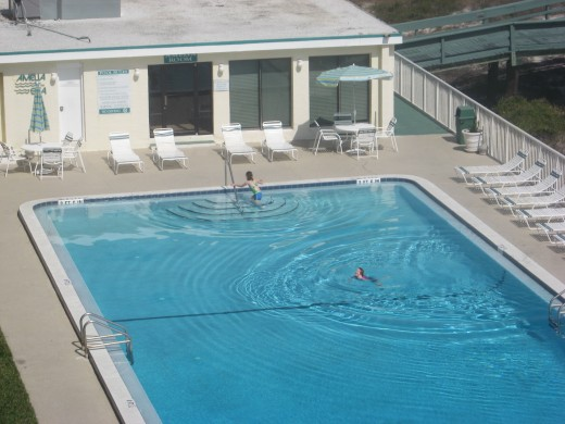 Pool at the beachfront condos.