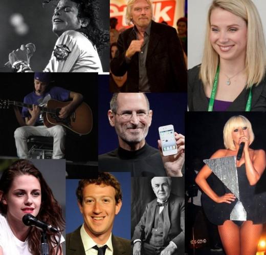 Top row (l-r) Michael Jackson, Richard Branson, Marissa Mayer. Middle row (l-r) Justin Bieber, Steve Jobs, Lady Gaga. Bottom row (l-r) Kristen Stewart, Mark Zuckerberg, Thomas Edison