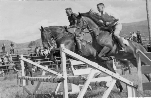 Tommy White on Query and Paddy Cameron on Dusky at Riders Club circa 1950s.