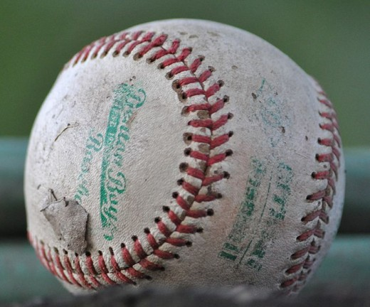 A well used baseball