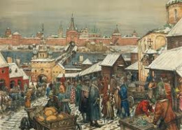 Holmgard (Novgorod) market scene - on the eastern bank of the Volkhov was the prince's stronghold, on the western was the market and accommodation for settled traders who dealt with itinerant traders or fur trappers