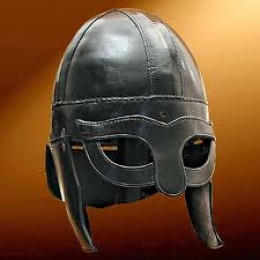 Rus Viking helm shows its Norse 'ancestry' in the pattern work over and around the eyes. This would have been at least a nobleman's property