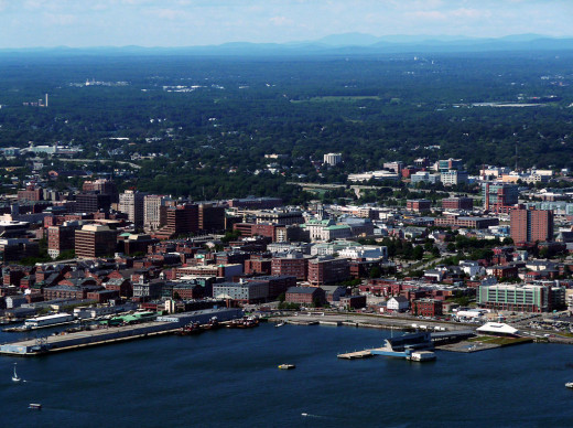 View of Portland from above Casco Bay