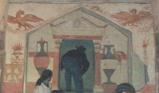 A tourist peering into Apollophanes's private burial chamber. Note the Greek architectural elements surrounding the opening.