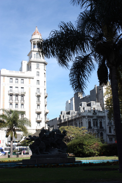 Fabini, or Entrevero, Square, Montevideo. (In the background, the Rex Building). Montevideo.