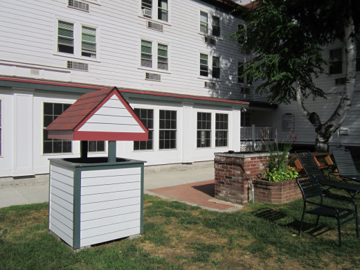 An outdoor permanent gas grill, free to use for guests of the Eastern Slope Inn Resort, right in the back yard!