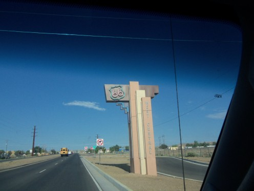 This photo was taken on Route 66 in Albuquerque, New Mexico, where they are very proud of the old road.