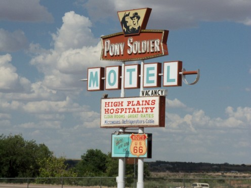 A well maintained sign is all that's left from this old motel on Route 66 in Tucumcari, New Mexico. The motel was torn down and has been gone for many years.