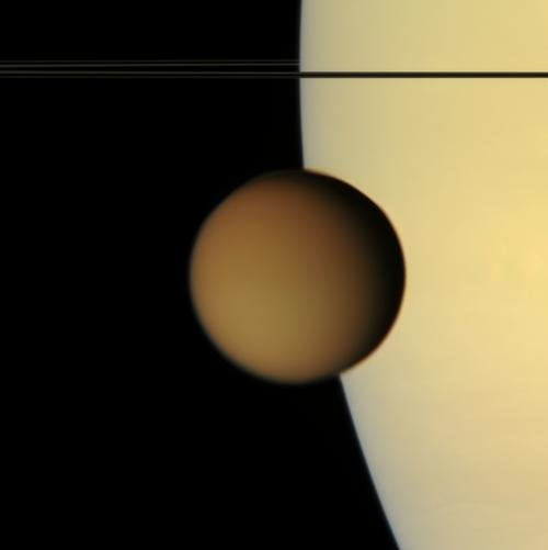 Titan transiting Saturn