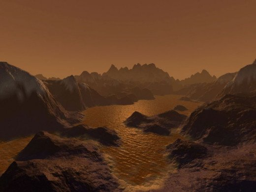 An Artists impression of the surface of Titan, complete with methane lake