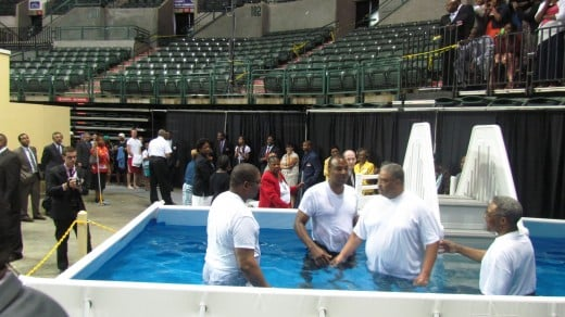 Thirty one men, women and children were baptised.
