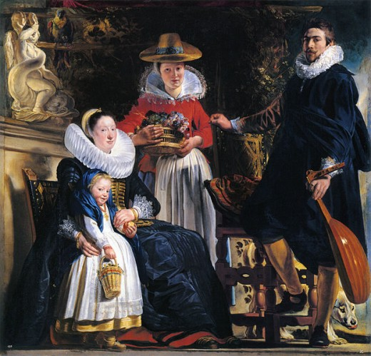 "Flemish artist Jacob Jordaens painted ""The Family of the Artist"" circa 1621. This work is in the public domain in the United States, and those countries with a copyright term of life of the author plus 100 years or less."
