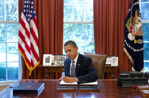 President Obama signing the Budget Control Act of 2011.