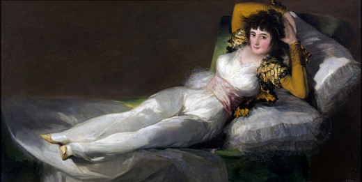 """The Clothed Maja"" (""La Maja Vestida') was painted by Francisco de Goya y Lucientes circa 1780. This work is in the public domain in the United States, and those countries with a copyright term of life of the author plus 100 years or less."
