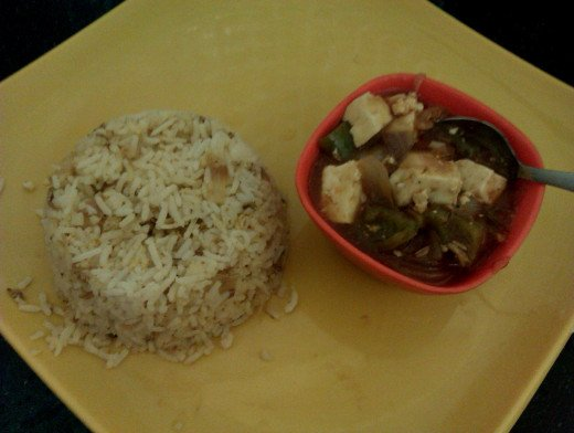 Paneer in Hot Garlic Sauce with Egg Masala Rice