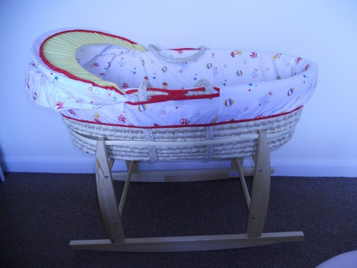 Baby should sleep in mum's room for the first few months. Moses baskets are a great space saver. Add the rocking stand and you have a fully-functional baby soother that can be operated from bed!