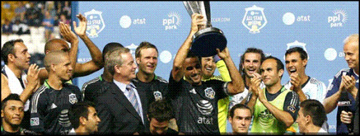 The MLS All-Stars win the trophy in 2012