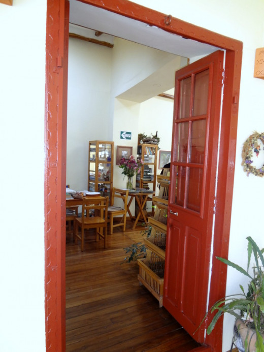 The front door welcomes you to a laid-back, farmhouse atmosphere.