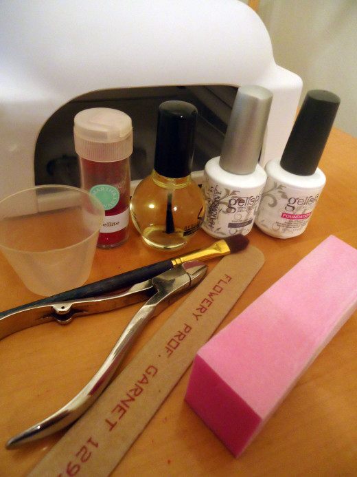 Supplies needed for DIY glitter soak off gel nails.