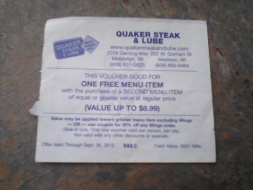 Quaker Steak and Lube coupon from the Bucky Book, Buy One Get One Free