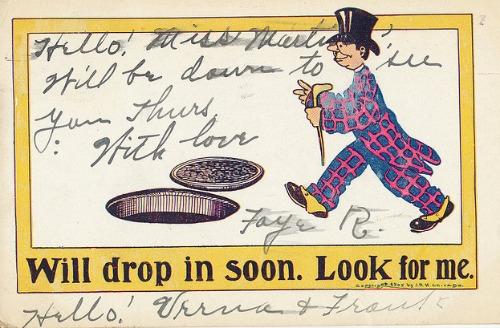 "Vintage Postcards ""Will Drop in Soon, Look for me"" Copyright 1905. JRH. Chicago. Postmarked 1906."