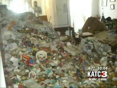 Trash hoarders litterally collect trash. Their entire home can become full of smelly, rotten, junk.