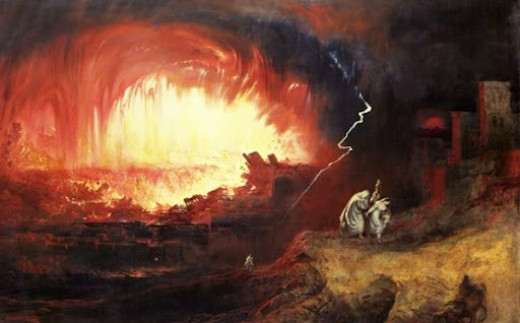The destruction of Sodom and Gomorrah.