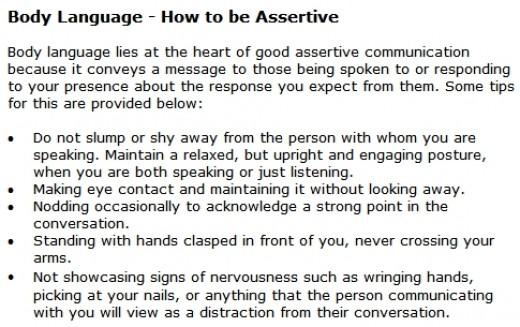 bodylanguage and assertiveness Communication coach mary civiello weighs in on new research shows that assertive body language can help women get their point across.