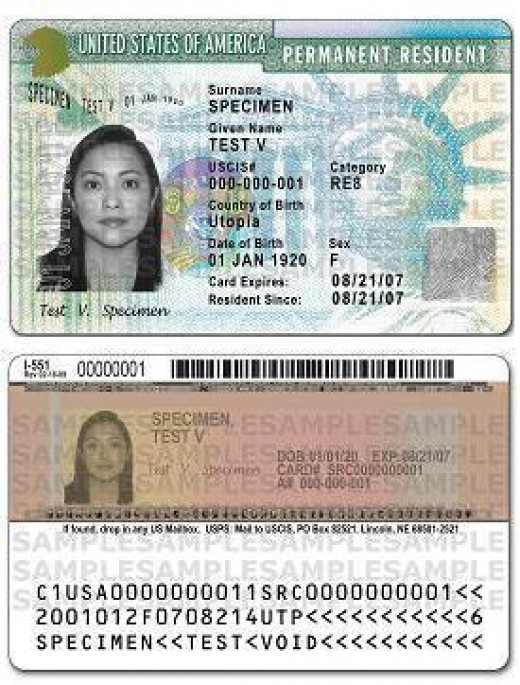 "Examples of Green Cards.  The cards give the holders the right to live and work in the USA.  They demonstrate ""permanent residency"" status.  You generally have to meet certain criterion to get one, however, and pay for the processing costs."