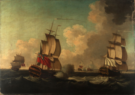 The British capturing the third-rate French ships Alcide and Lys off Cape Race.