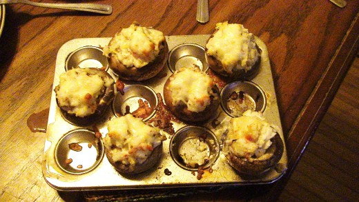 Finished Crab-Stuffed Mushrooms directly off of the grill.