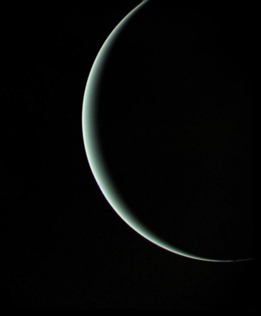 The last photograph taken by Voyager 2 as it departs Uranus on January 25th 1986. This was taken when Voyager 2 was 600,000 miles from Uranus