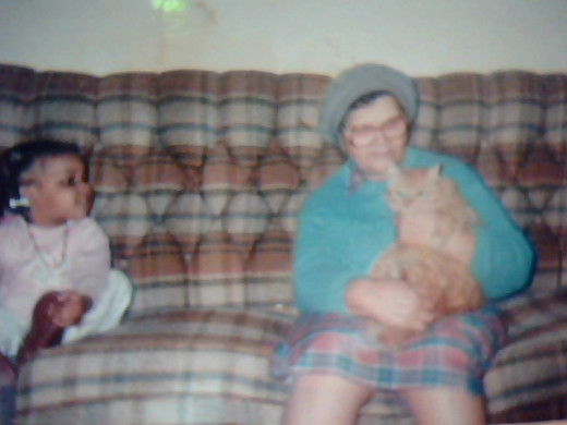 Andi with Ma (great grandmother Nancy) and Tabby