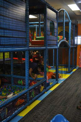 The fort in the play room is 1400-square-feet of fun, with slide, ball pit, swing and trampoline. Kids play hide-n-seek and safe games of chase, all while being supervised by dedicated Playhouse staff.